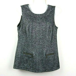 Cabi Womens Sleeveless Patterned Blouse w/ Pockets